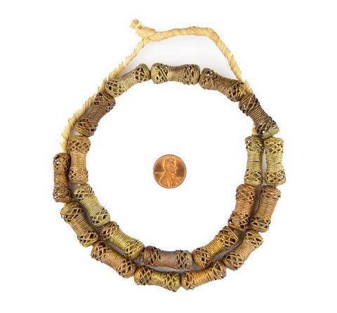 Woven Barrel Ghana Brass Filigree Beads - The Bead Chest