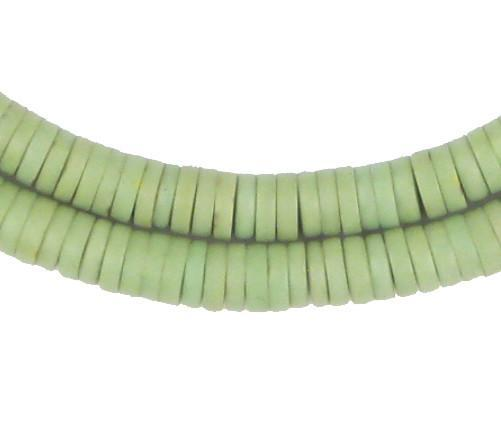 Light Green Sliced Prosser Beads - The Bead Chest