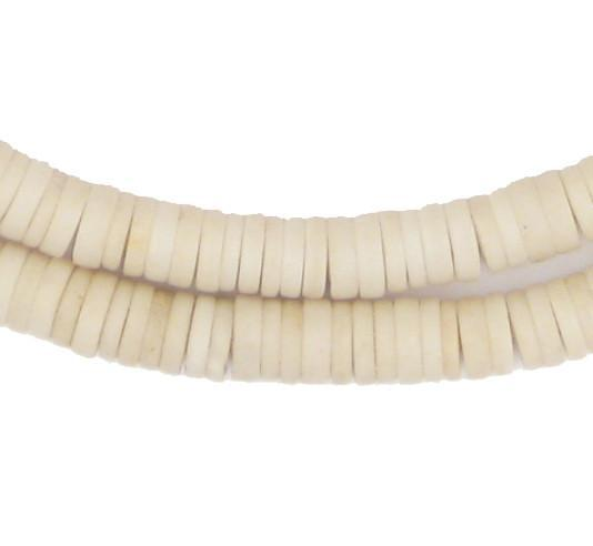 Ivory Color Sliced Prosser Beads - The Bead Chest