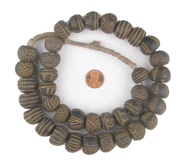 Mali Clay Spindle Beads (Small Gumdrop)