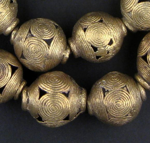 Pendant Size Extra Large Cameroon Brass Globe Beads - The Bead Chest