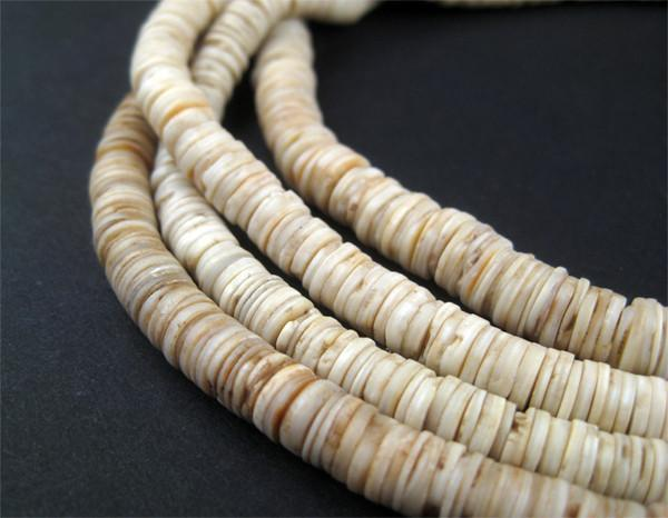 Vintage Ocean Shell Heishi Beads (5mm) - The Bead Chest