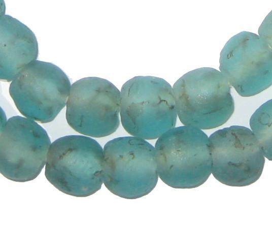 Aqua Black Swirl Recycled Glass Beads (11mm) - The Bead Chest