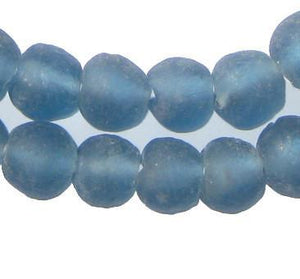 Light Blue Recycled Glass Beads (14mm) - The Bead Chest