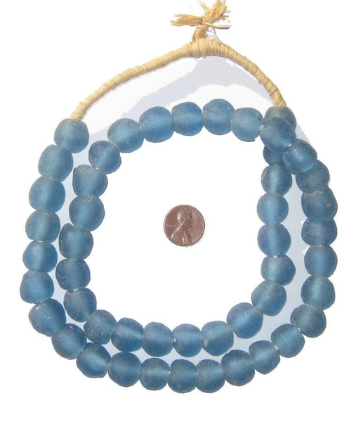 Light Blue Recycled Glass Beads (14mm)