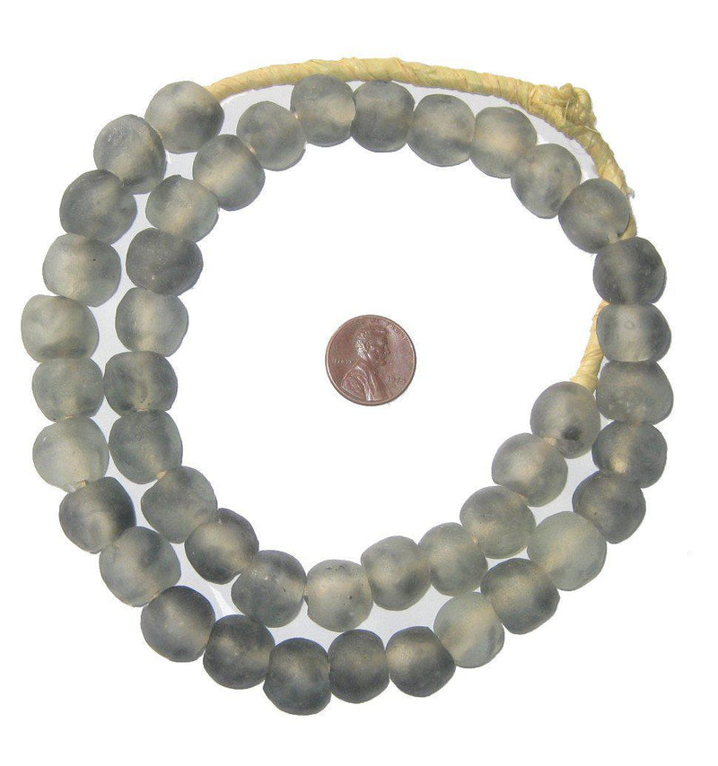 Grey Mist Recycled Glass Beads (14mm) - The Bead Chest