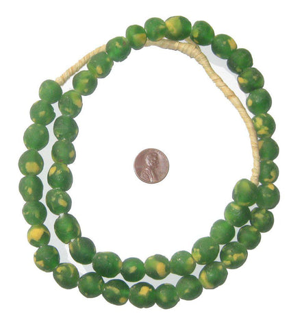 Congo Green Recycled Glass Beads (14mm) - The Bead Chest