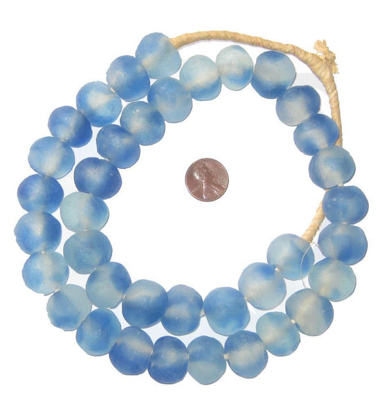 Blue Swirl Recycled Glass Beads (18mm)