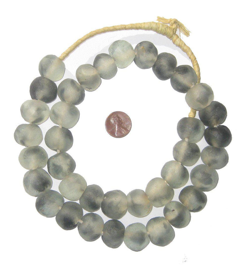 Grey Mist Recycled Glass Beads (18mm) - The Bead Chest