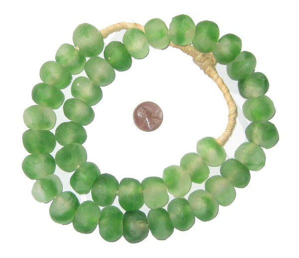 Green Swirl Recycled Glass Beads (18mm)