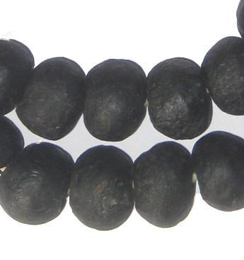 Opaque Black Recycled Glass Beads (18mm) - The Bead Chest
