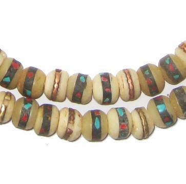 Natural Vintage Inlaid Bone Prayer Beads (8mm) - The Bead Chest