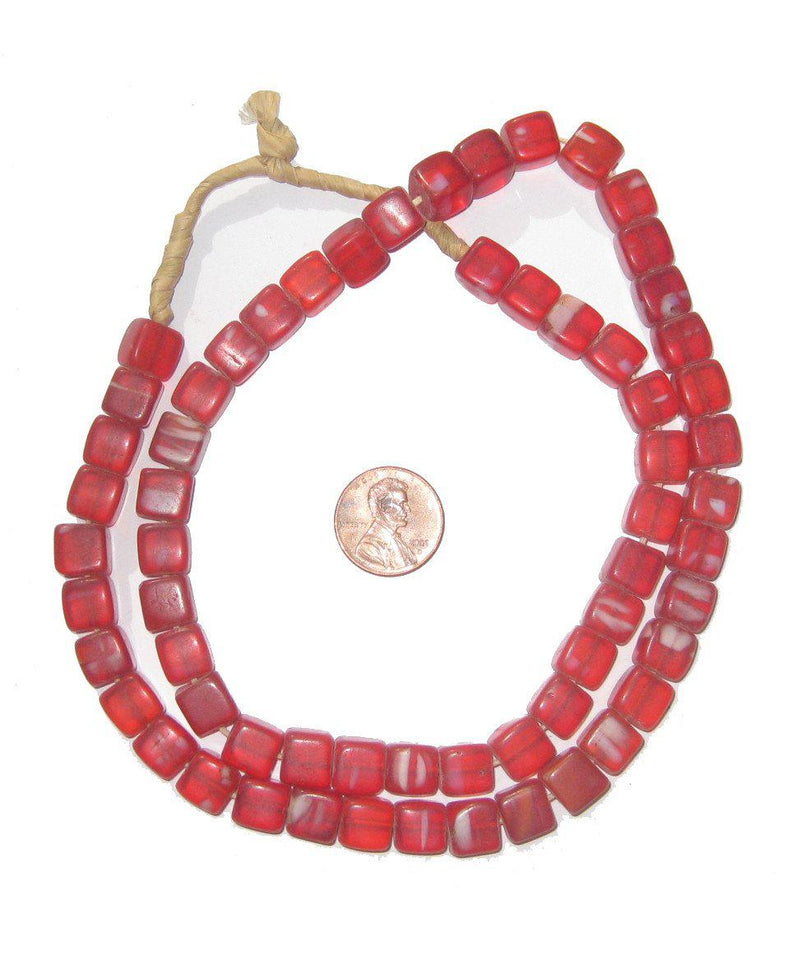 Old Red Bohemian Cube Beads - The Bead Chest