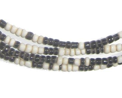 Black and White Glass Beads (2 Strands) - The Bead Chest