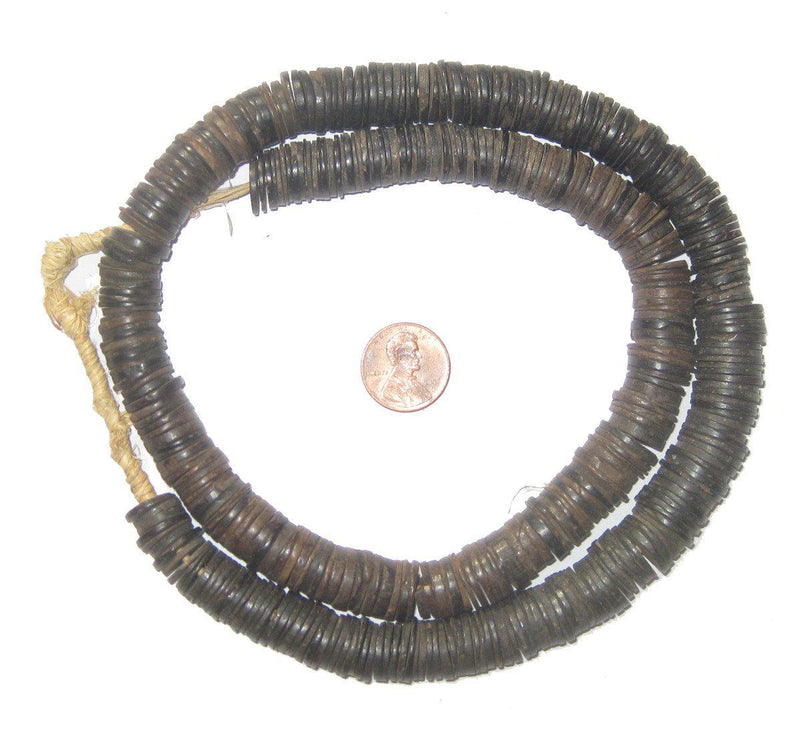Vintage Coconut Shell Heishi Beads (10-15mm) - The Bead Chest