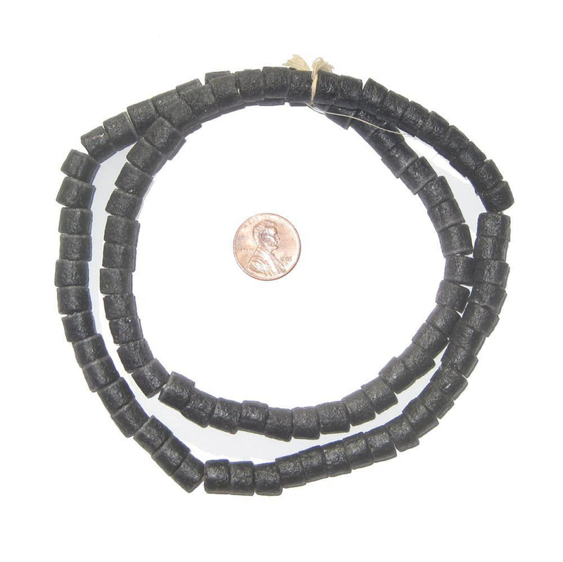 Charcoal Black Sandcast Cylinder Beads - The Bead Chest
