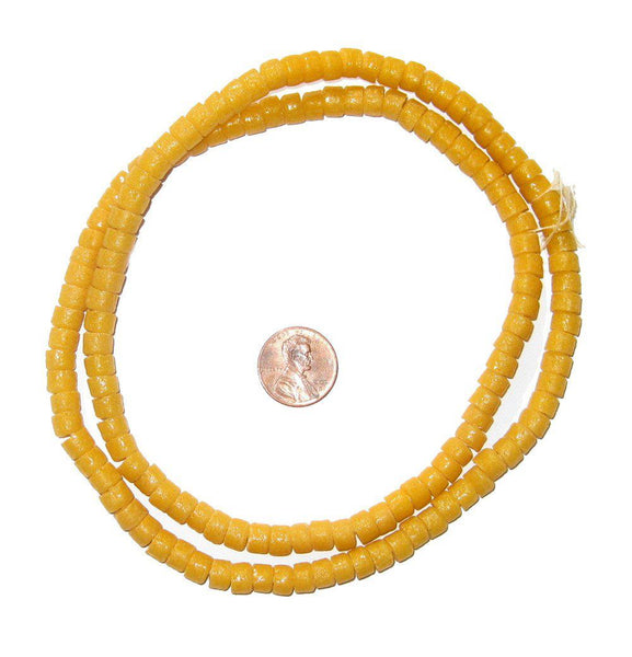 Amber Yellow Sandcast Cylinder Beads - The Bead Chest
