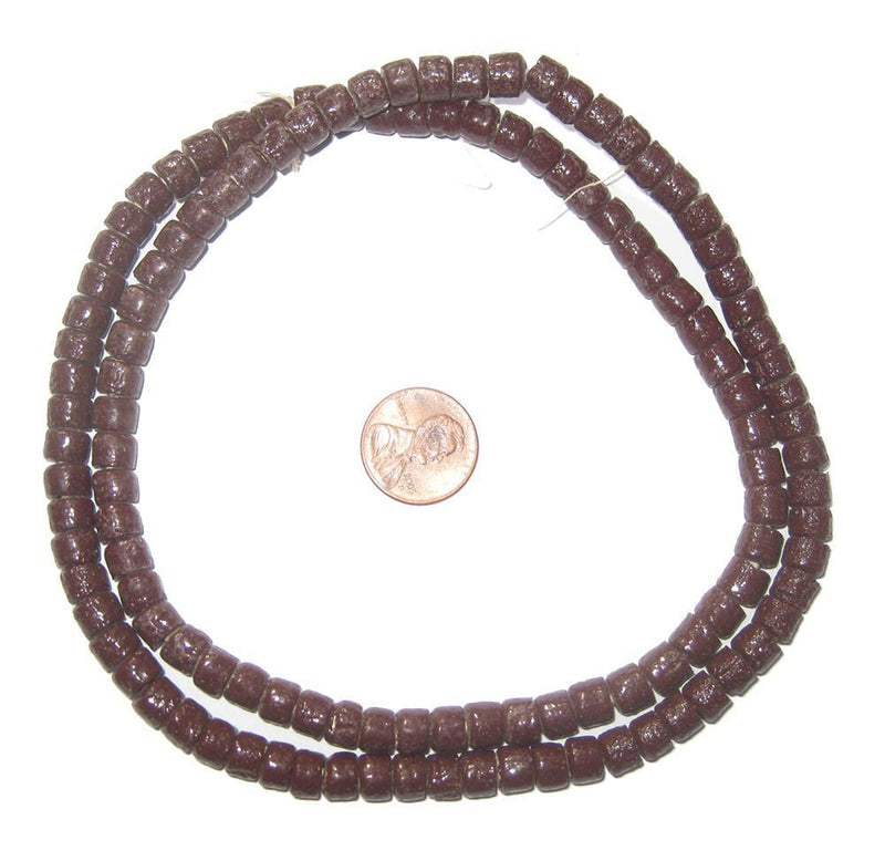 Ghanaian Brown Sandcast Cylinder Beads - The Bead Chest