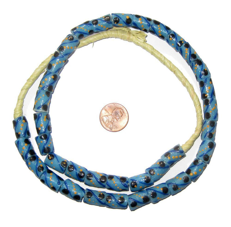 Dot Stripe Krobo Powder Glass Beads - The Bead Chest