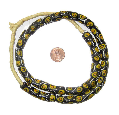 Tiger Eye Krobo Powder Glass Beads - The Bead Chest
