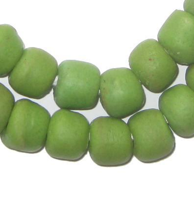 Lime Green Sandcast Beads - The Bead Chest