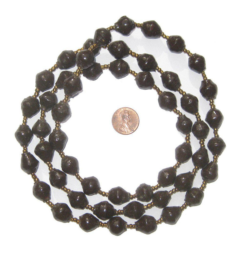 Dark Brown Recycled Paper Beads from Uganda - The Bead Chest