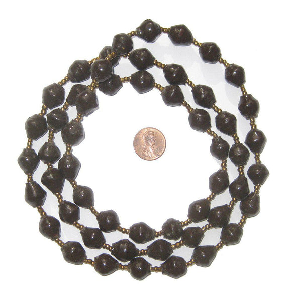 Dark Brown Recycled Paper Beads from Uganda