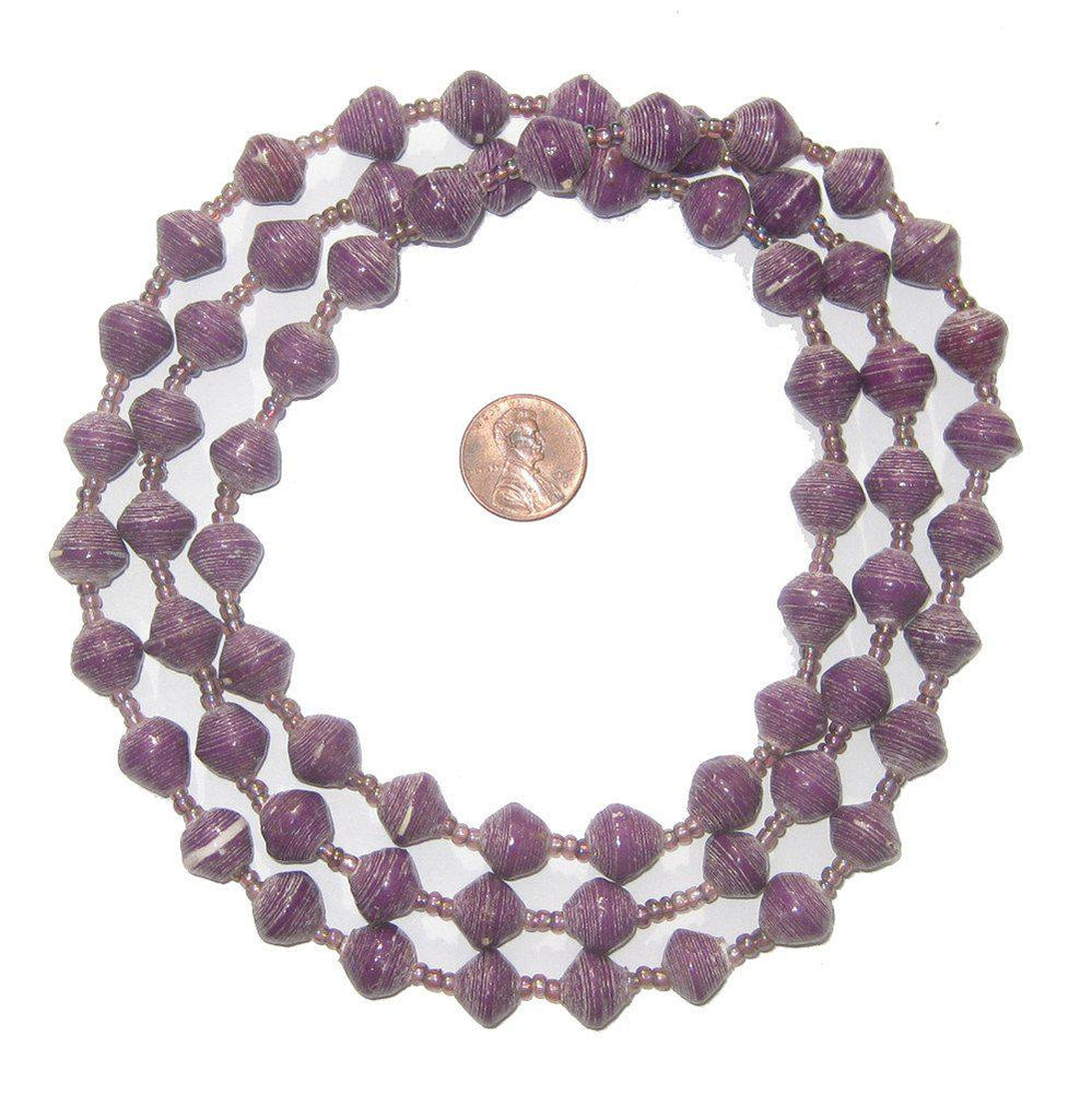 Lavender Recycled Paper Beads from Uganda - The Bead Chest