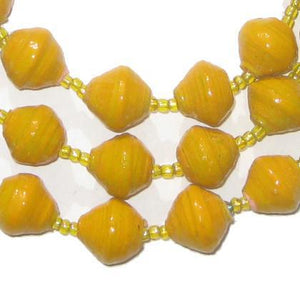 Sunflower Yellow Recycled Paper Beads from Uganda - The Bead Chest