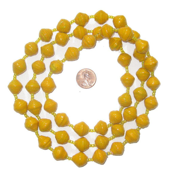 Sunflower Yellow Recycled Paper Beads from Uganda