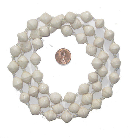 White Recycled Paper Beads from Uganda - The Bead Chest