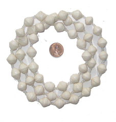 White Recycled Paper Beads from Uganda