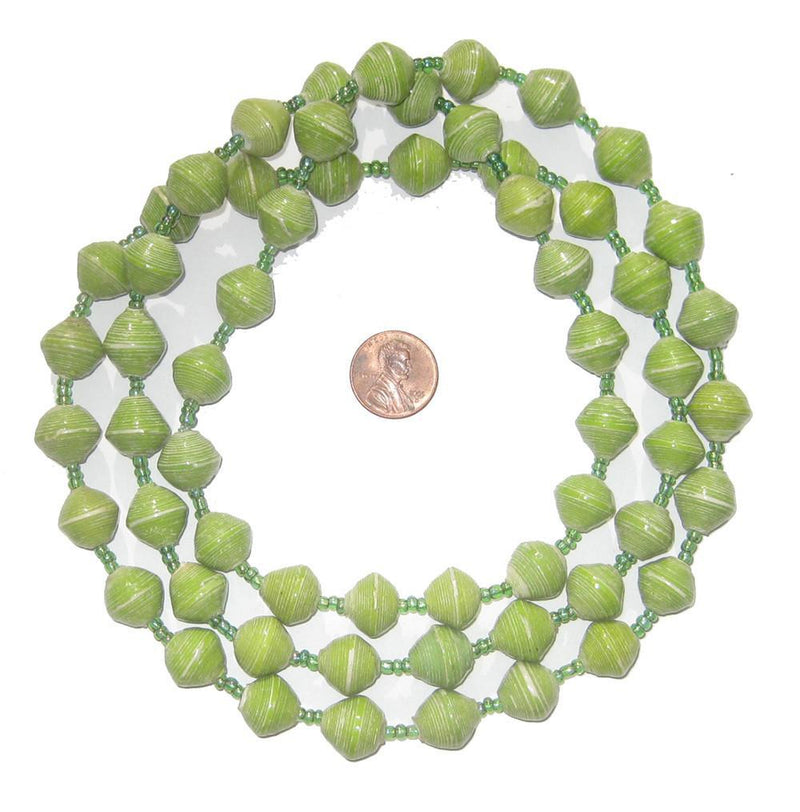 Pistachio Green Recycled Paper Beads from Uganda - The Bead Chest