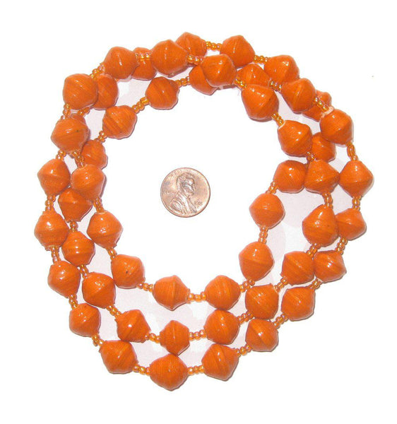 Orange Recycled Paper Beads from Uganda