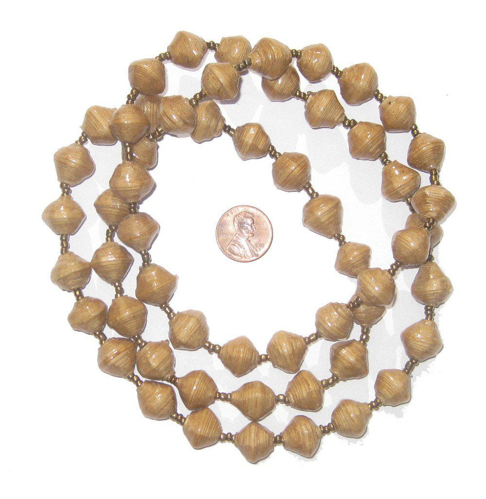 Tan Recycled Paper Beads from Uganda - The Bead Chest