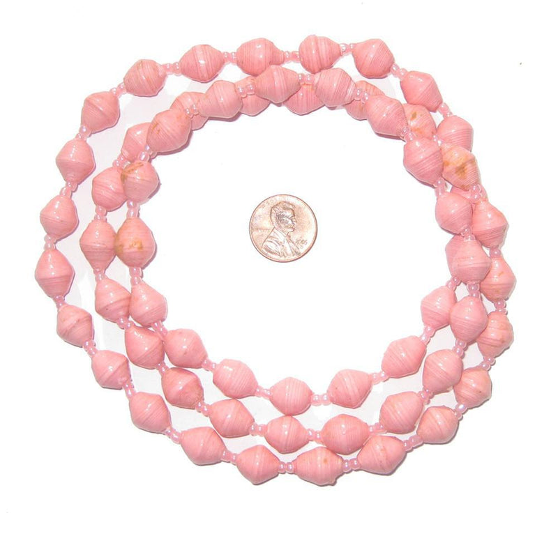 Pink Recycled Paper Beads from Uganda - The Bead Chest