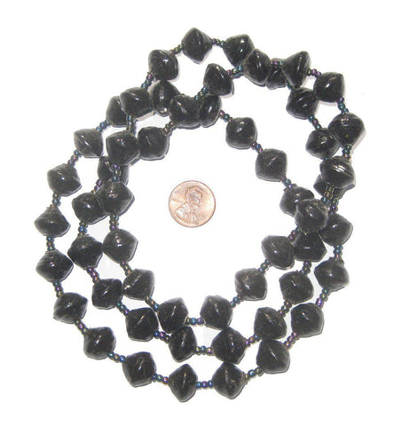 Black Recycled Paper Beads from Uganda - The Bead Chest