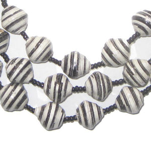 Black White Stripe Recycled Paper Beads from Uganda - The Bead Chest