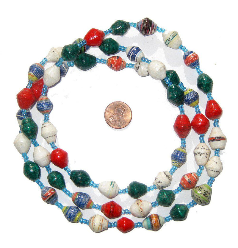 Christmas-Style Mixed Recycled Paper Beads from Uganda - The Bead Chest