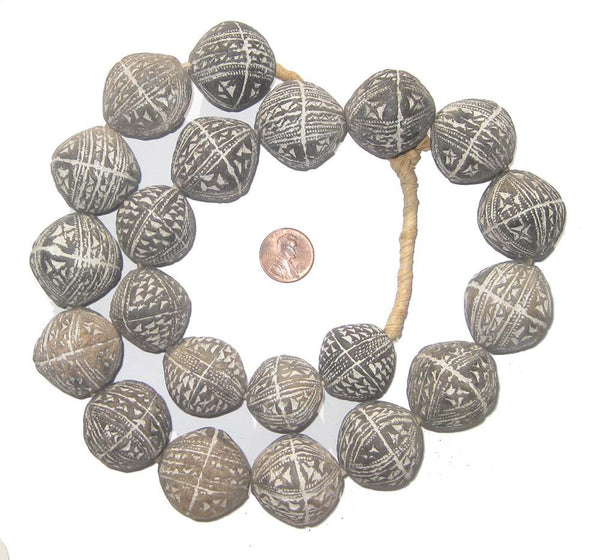 Cuneiform Mali Clay Spindle Beads (Bicone)