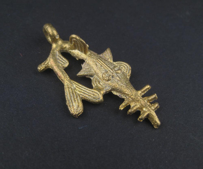 Swordfish Brass Pendant from Africa - The Bead Chest