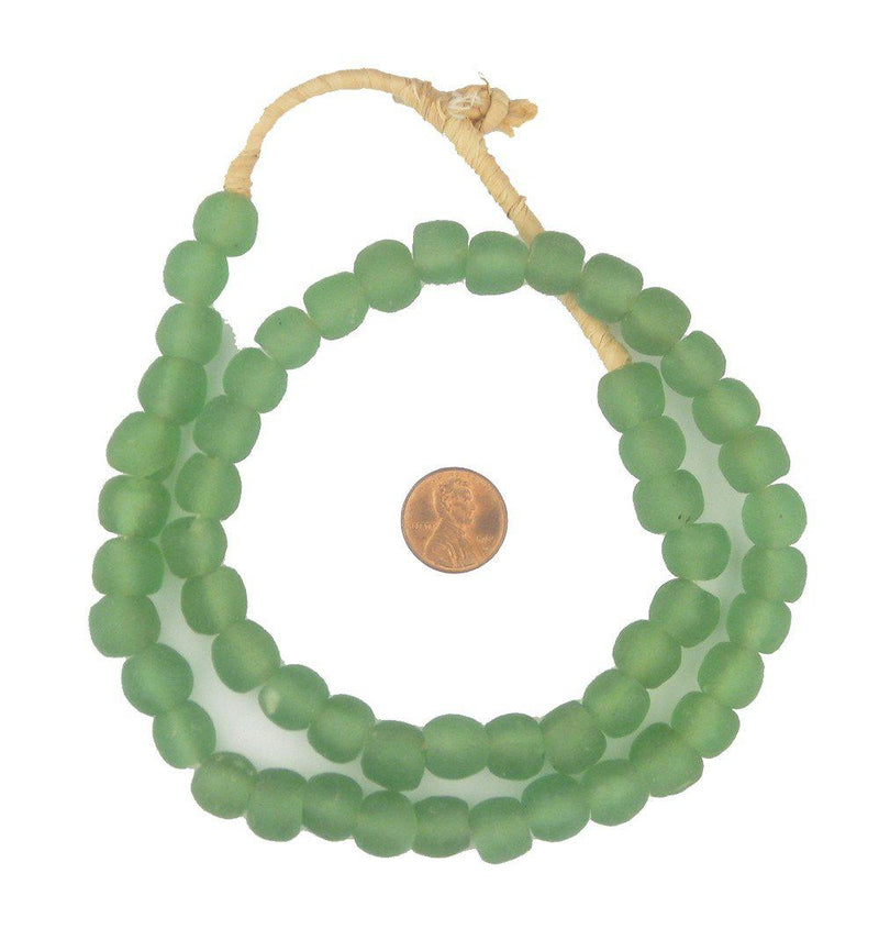 Light Green Recycled Glass Beads (11mm) - The Bead Chest