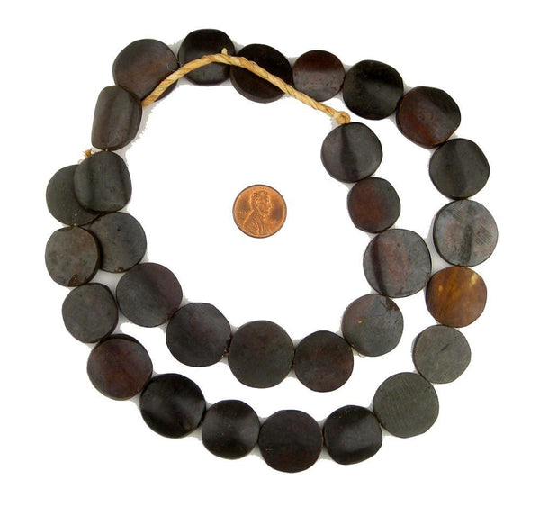 Dark Brown Kenya Bone Beads (Circular)