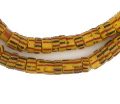 Awalleh Yellow Chevron Beads - The Bead Chest