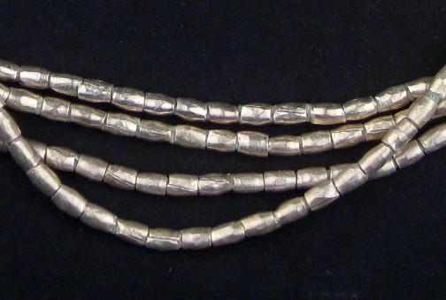 Folded Silver Tube Ethiopian Metal Beads (4x3mm) - The Bead Chest