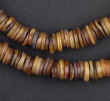 Camel Brown Moroccan Heishi Shell Beads - The Bead Chest
