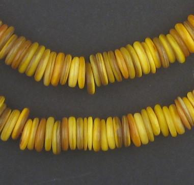 Mustard Yellow Moroccan Heishi Shell Beads - The Bead Chest