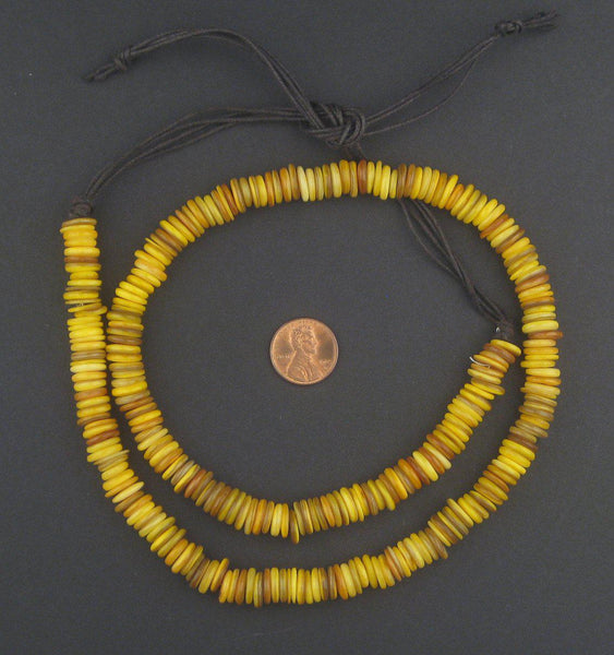 Mustard Yellow Moroccan Heishi Shell Beads
