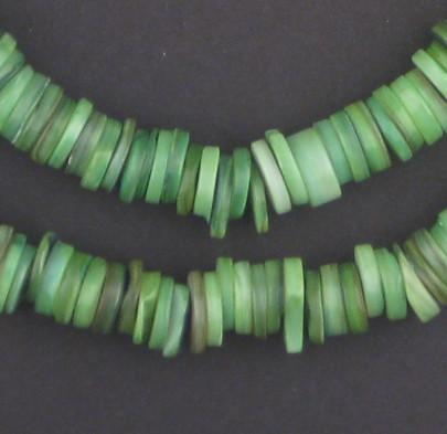 Fern Green Moroccan Heishi Shell Beads - The Bead Chest