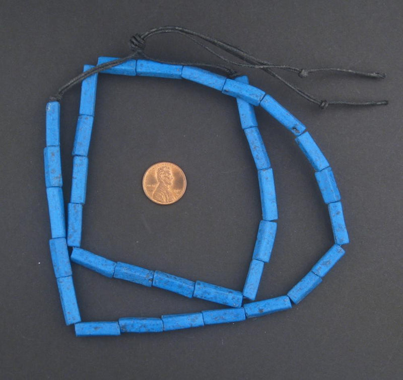 Deep Blue Moroccan Pottery Beads (Rectangle) - The Bead Chest